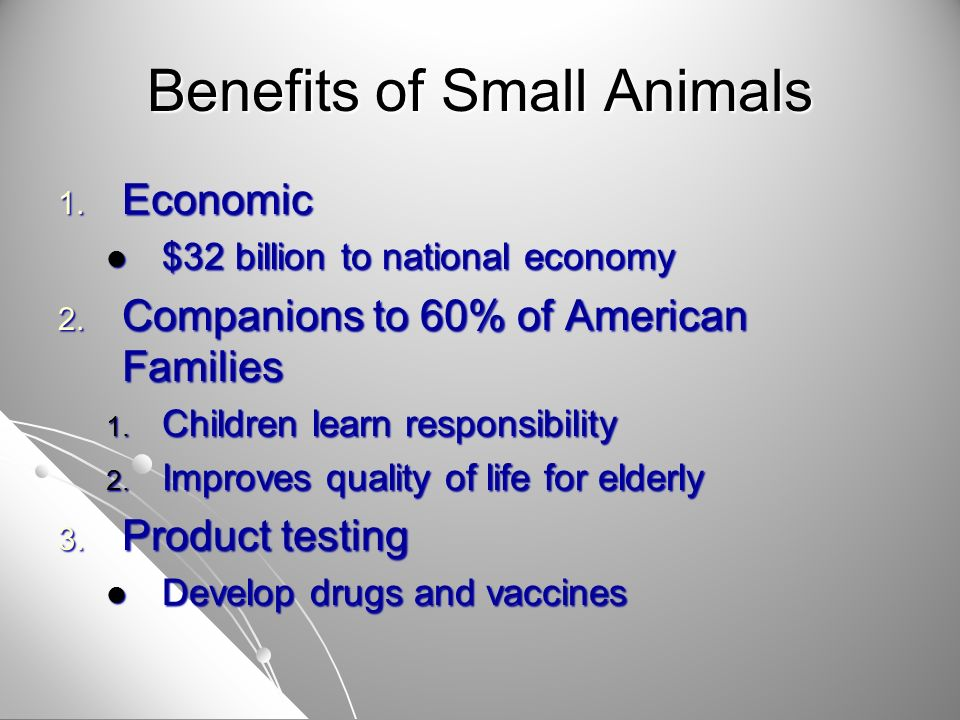 Benefits of Small Animals 4.