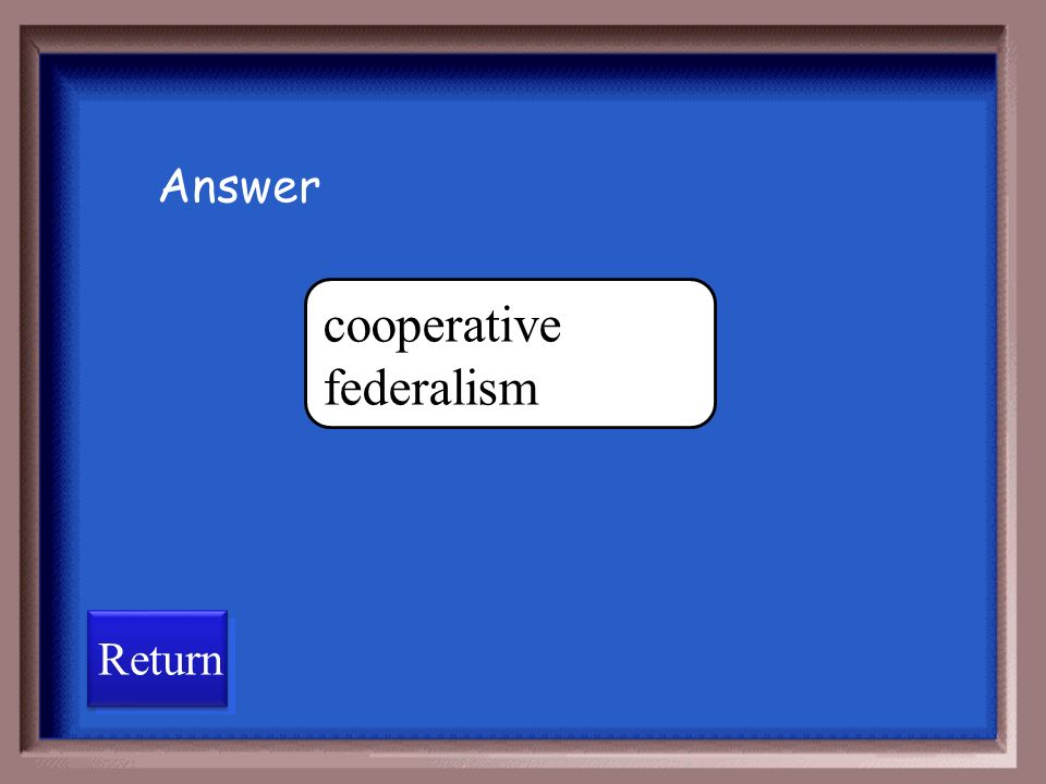 A system of government in which the state and the national government share powers, policy assignments, and, sometimes, costs, administration, and blame for failed policies is dual federalismcooperative federalism confederate federalism unitary federalism