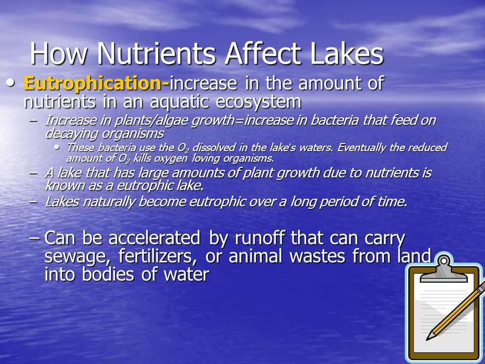 How Nutrients Affect Lakes Eutrophication-increase in the amount of nutrients in an aquatic ecosystem Eutrophication-increase in the amount of nutrien