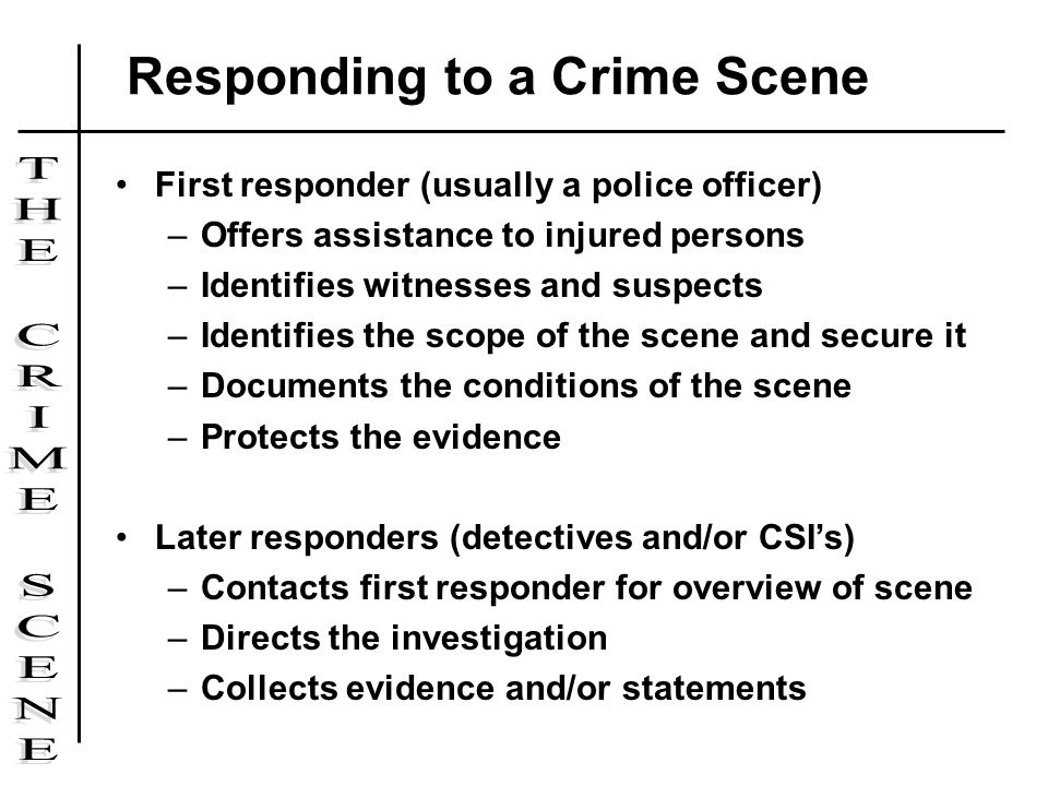 First responder (usually a police officer) –Offers assistance to injured persons –Identifies witnesses and suspects –Identifies the scope of the scene