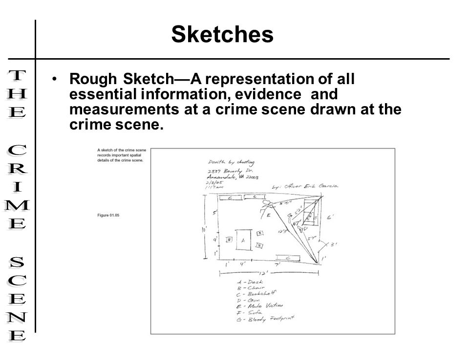 Rough SketchA representation of all essential information, evidence and measurements at a crime scene drawn at the crime scene. Sketches