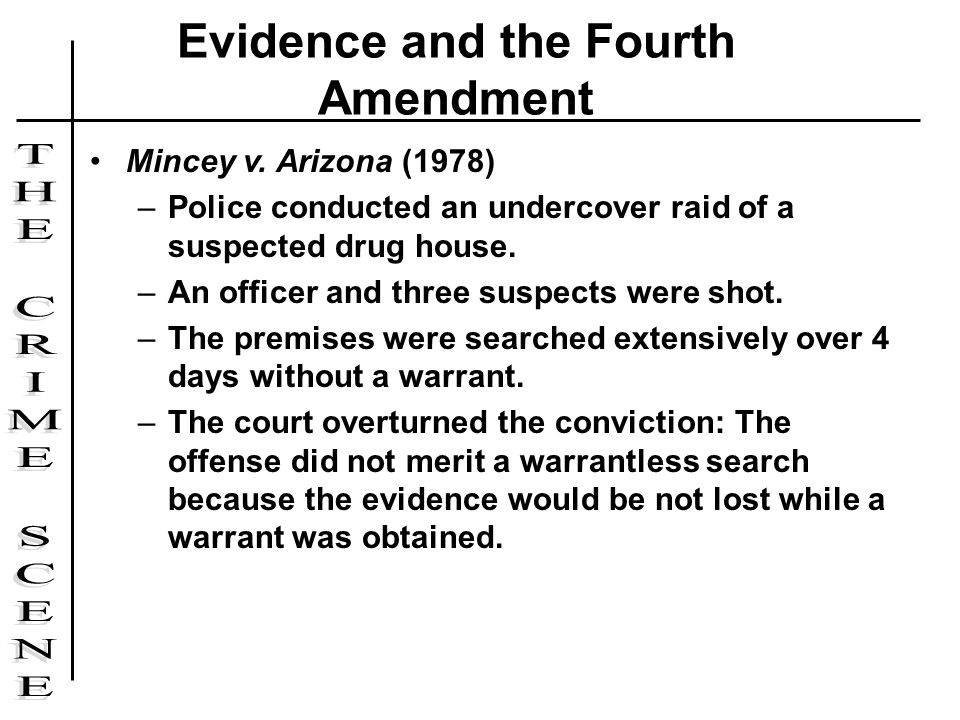 Mincey v. Arizona (1978) –Police conducted an undercover raid of a suspected drug house. –An officer and three suspects were shot. –The premises were