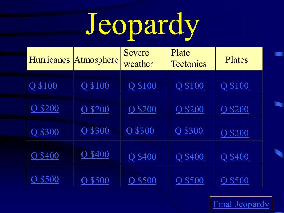 Jeopardy HurricanesAtmosphere Severe weather Plate Tectonics Plates Q $100 Q $200 Q $300 Q $400 Q $500 Q $100 Q $200 Q $300 Q $400 Q $500 Final Jeopardy