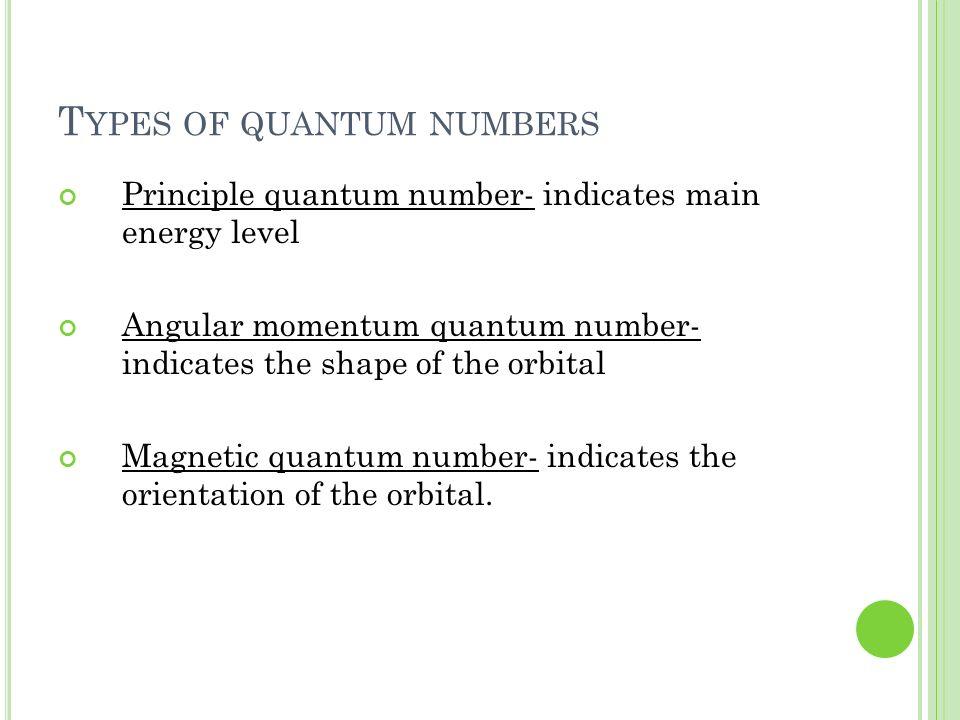 T YPES OF QUANTUM NUMBERS Principle quantum number- indicates main energy level Angular momentum quantum number- indicates the shape of the orbital Ma