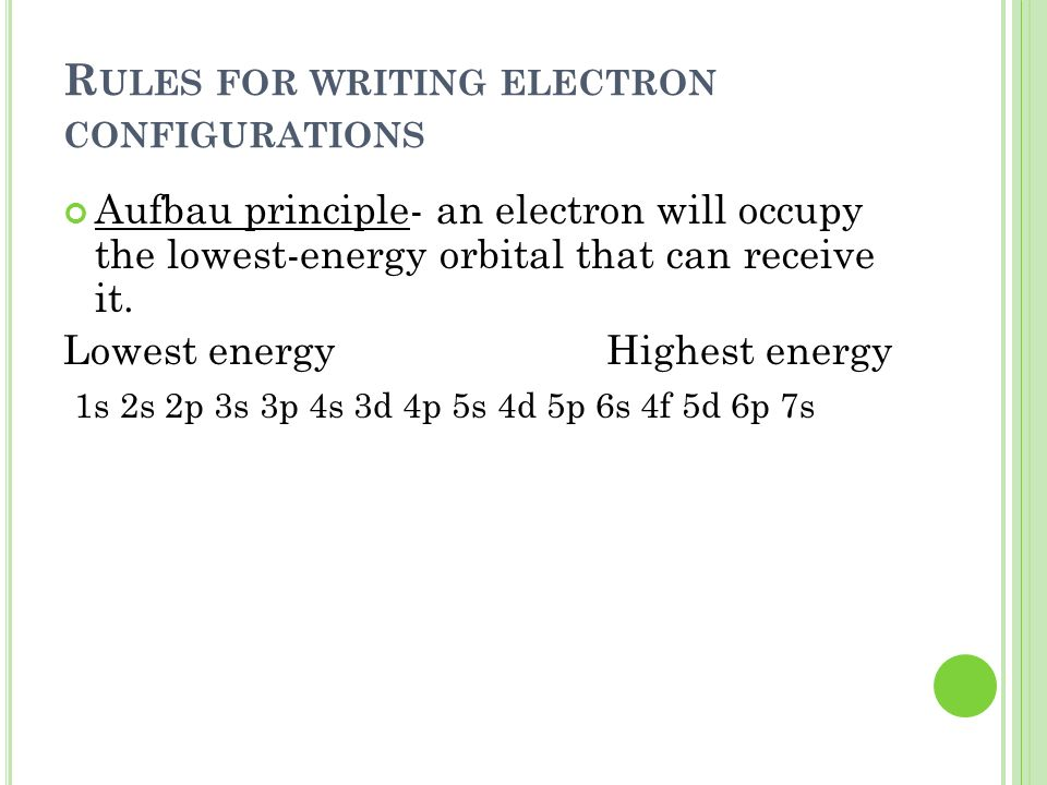 R ULES FOR WRITING ELECTRON CONFIGURATIONS Aufbau principle- an electron will occupy the lowest-energy orbital that can receive it. Lowest energy High