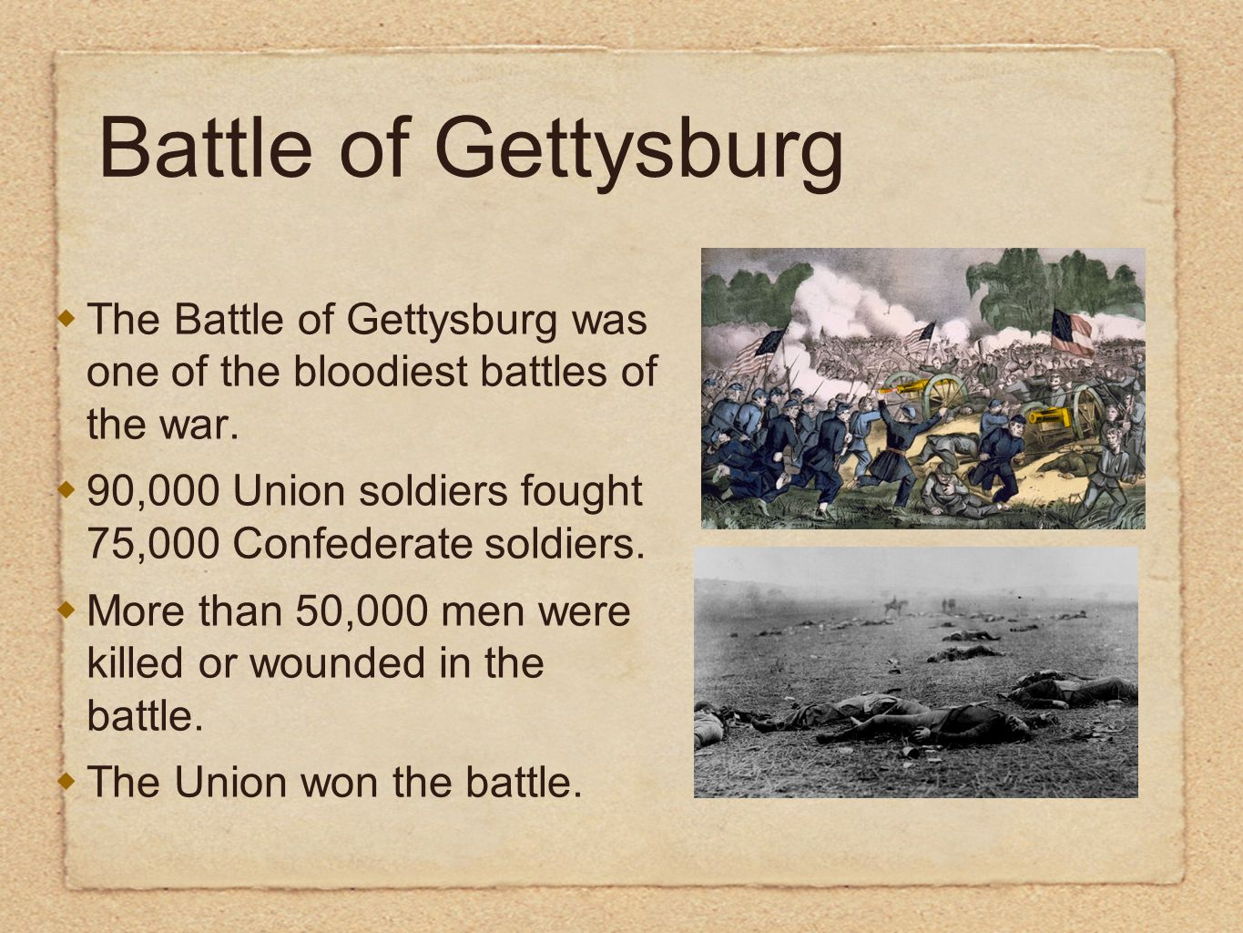 The Battle of Gettysburg was one of the bloodiest battles of the war. 90,000 Union soldiers fought 75,000 Confederate soldiers. More than 50,000 men w