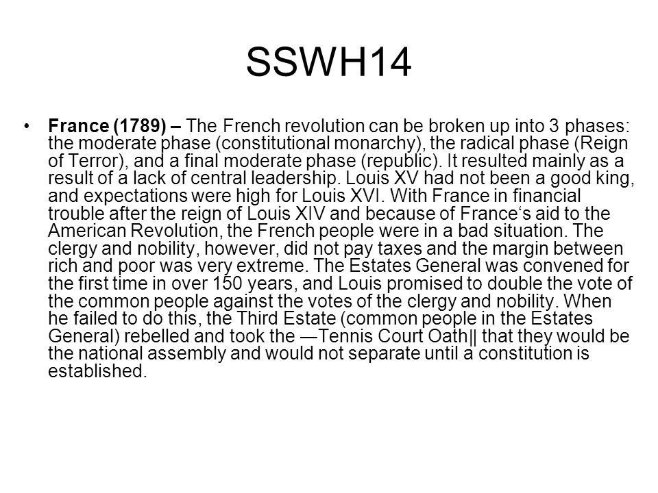 SSWH14 France (1789) – The French revolution can be broken up into 3 phases: the moderate phase (constitutional monarchy), the radical phase (Reign of