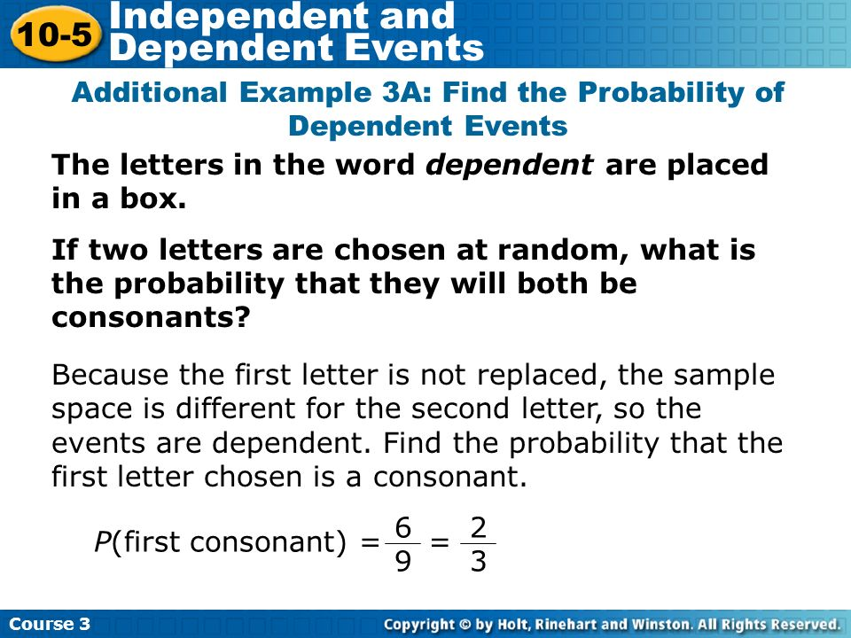 The letters in the word dependent are placed in a box. If two letters are chosen at random, what is the probability that they will both be consonants?