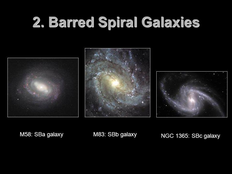 2. Barred Spiral Galaxies M58: SBa galaxyM83: SBb galaxy NGC 1365: SBc galaxy