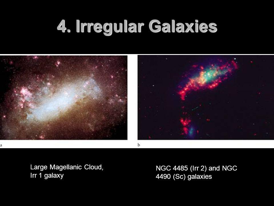 4. Irregular Galaxies Large Magellanic Cloud, Irr 1 galaxy NGC 4485 (Irr 2) and NGC 4490 (Sc) galaxies