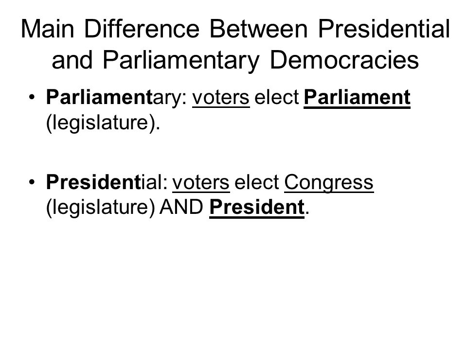 Main Difference Between Presidential and Parliamentary Democracies Parliamentary: voters elect Parliament (legislature). Presidential: voters elect Co