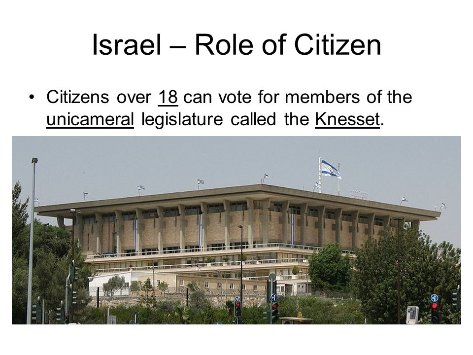 Israel – Role of Citizen Citizens over 18 can vote for members of the unicameral legislature called the Knesset.