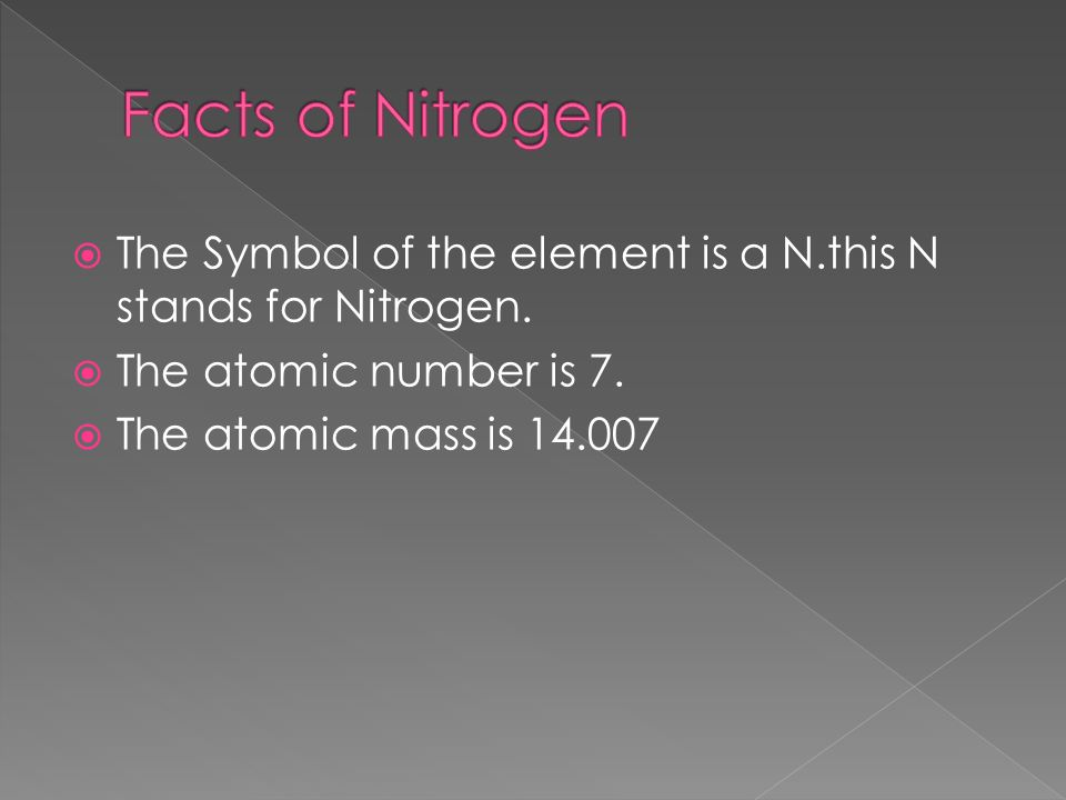 The Symbol of the element is a N.this N stands for Nitrogen.