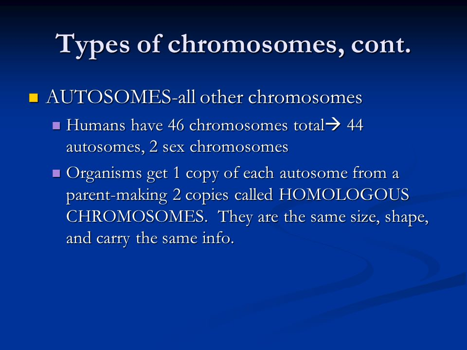 Types of chromosomes, cont. AUTOSOMES-all other chromosomes AUTOSOMES-all other chromosomes Humans have 46 chromosomes total 44 autosomes, 2 sex chrom