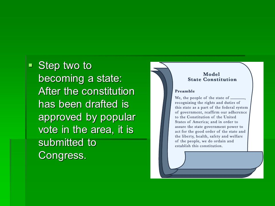 Step two to becoming a state: After the constitution has been drafted is approved by popular vote in the area, it is submitted to Congress. Step two t