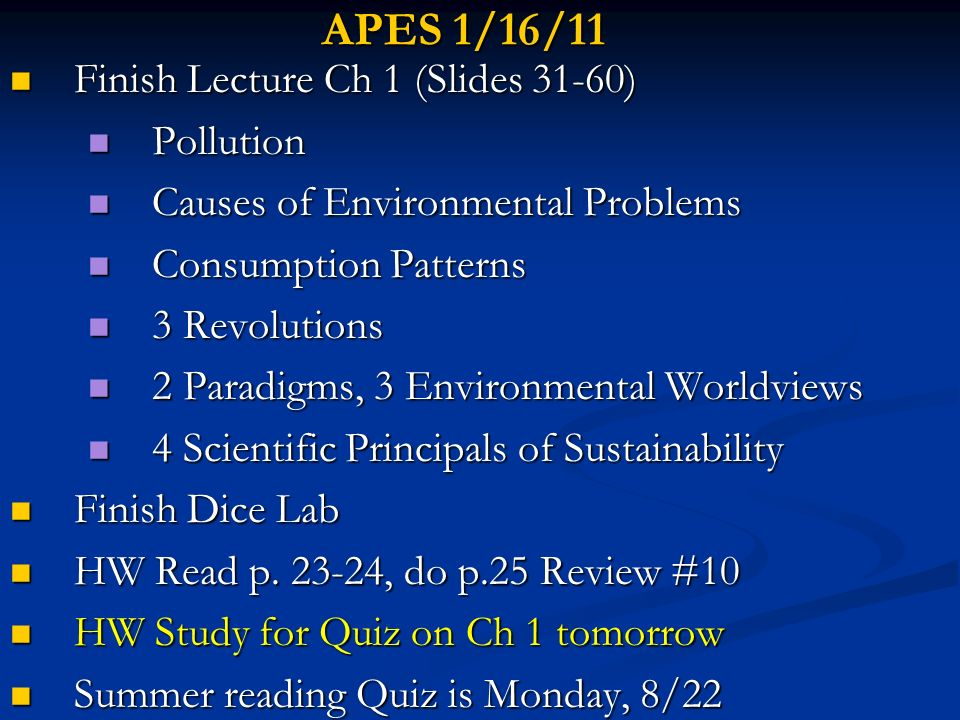 APES 1/17/11 Questions before the quiz.Questions before the quiz.