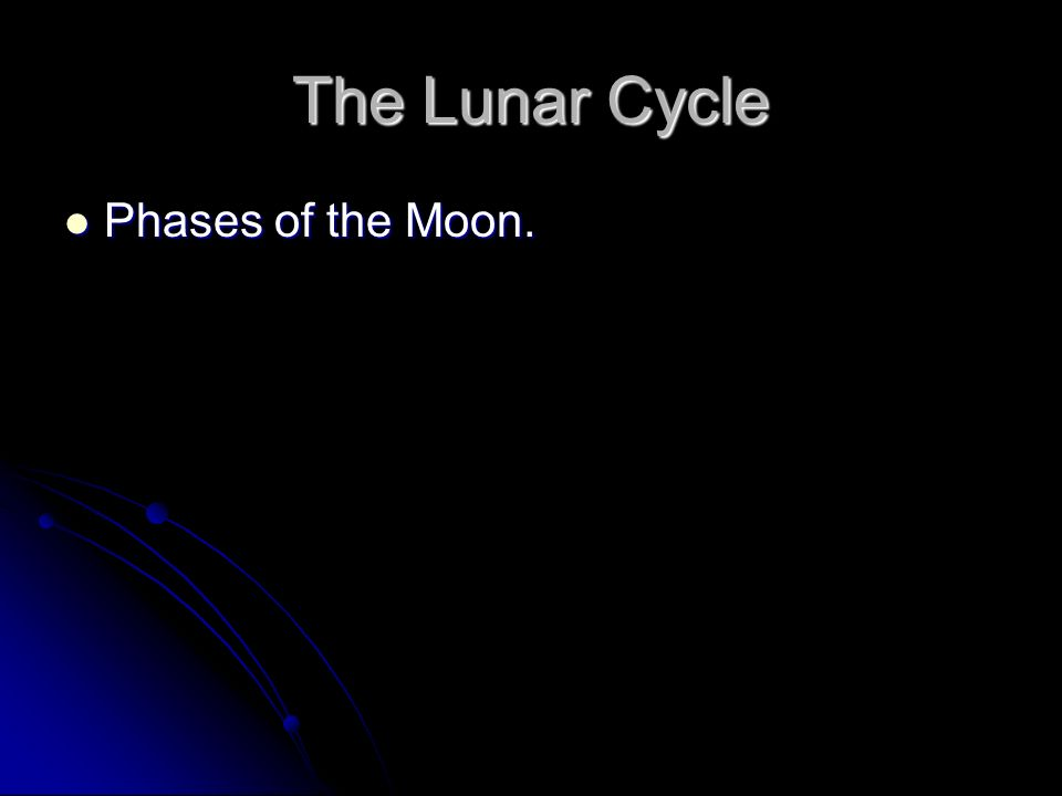 The Lunar Cycle Phases of the Moon. Phases of the Moon.