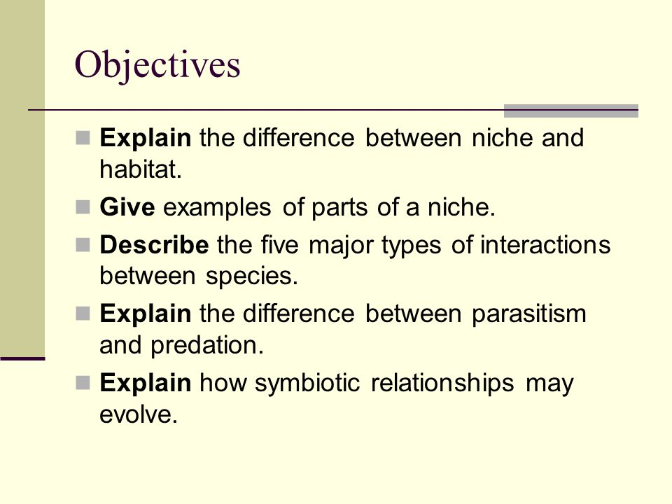 Objectives Explain the difference between niche and habitat. Give examples of parts of a niche. Describe the five major types of interactions between