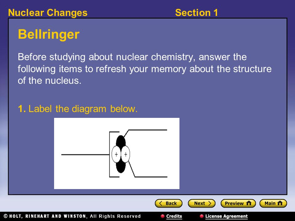 Section 1Nuclear Changes Bellringer Before studying about nuclear chemistry, answer the following items to refresh your memory about the structure of