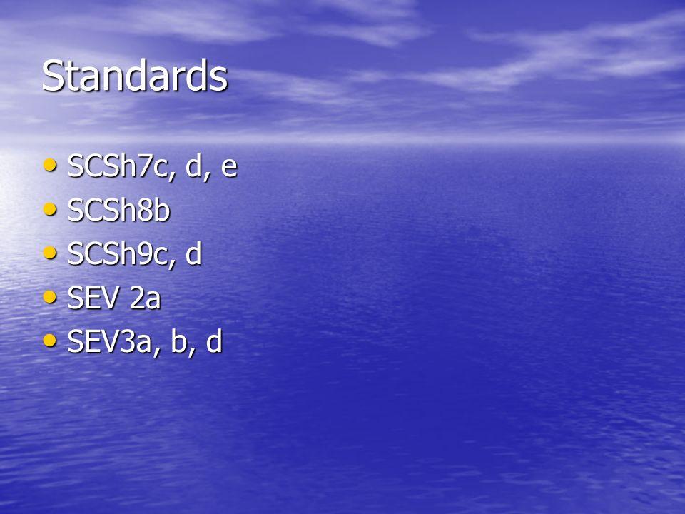 Standards SCSh7c, d, e SCSh7c, d, e SCSh8b SCSh8b SCSh9c, d SCSh9c, d SEV 2a SEV 2a SEV3a, b, d SEV3a, b, d