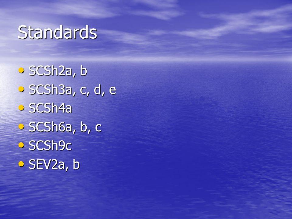 Standards SCSh2a, b SCSh2a, b SCSh3a, c, d, e SCSh3a, c, d, e SCSh4a SCSh4a SCSh6a, b, c SCSh6a, b, c SCSh9c SCSh9c SEV2a, b SEV2a, b