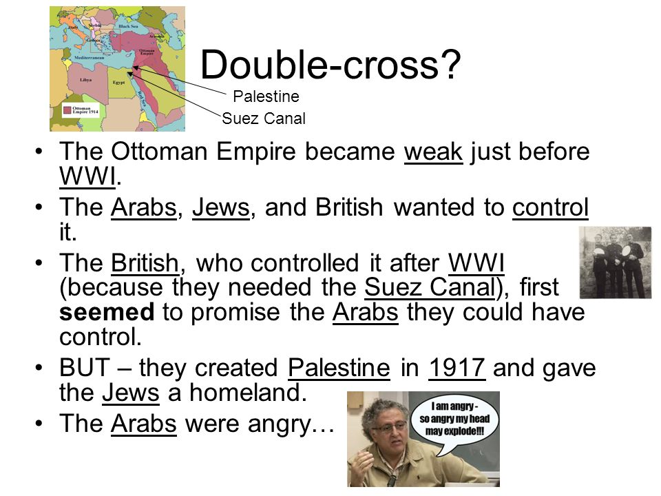 Double-cross? The Ottoman Empire became weak just before WWI. The Arabs, Jews, and British wanted to control it. The British, who controlled it after