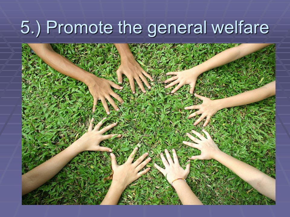 5.) Promote the general welfare