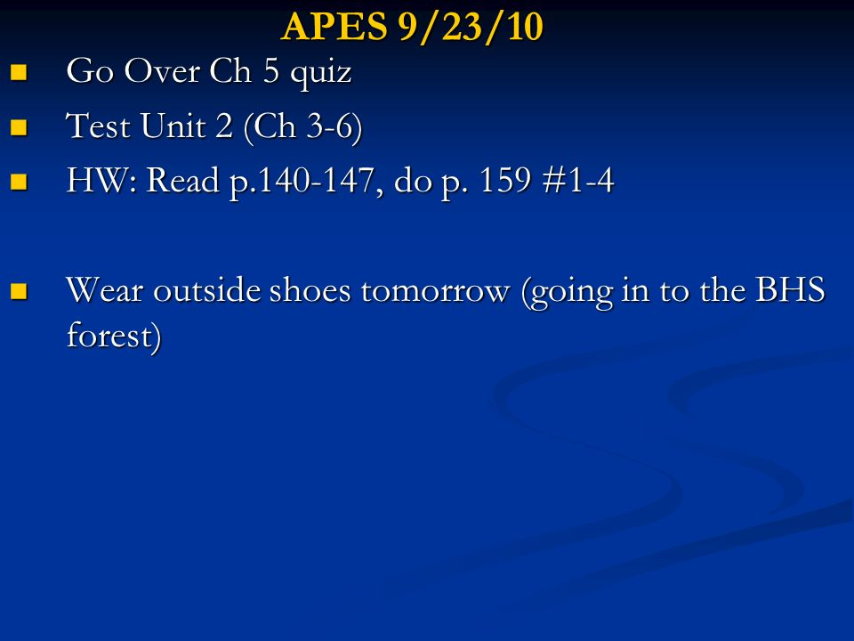APES 9/23/10 Go Over Ch 5 quiz Go Over Ch 5 quiz Test Unit 2 (Ch 3-6) Test Unit 2 (Ch 3-6) HW: Read p.140-147, do p. 159 #1-4 HW: Read p.140-147, do p
