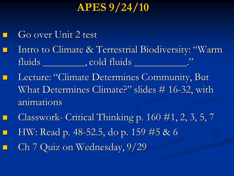 APES 9/24/10 Go over Unit 2 test Go over Unit 2 test Intro to Climate & Terrestrial Biodiversity: Warm fluids ________, cold fluids __________. Intro