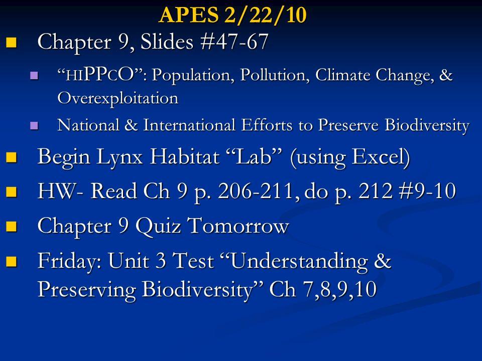 APES 2/22/10 Chapter 9, Slides #47-67 Chapter 9, Slides #47-67 HI PP C O : Population, Pollution, Climate Change, & Overexploitation HI PP C O : Popul
