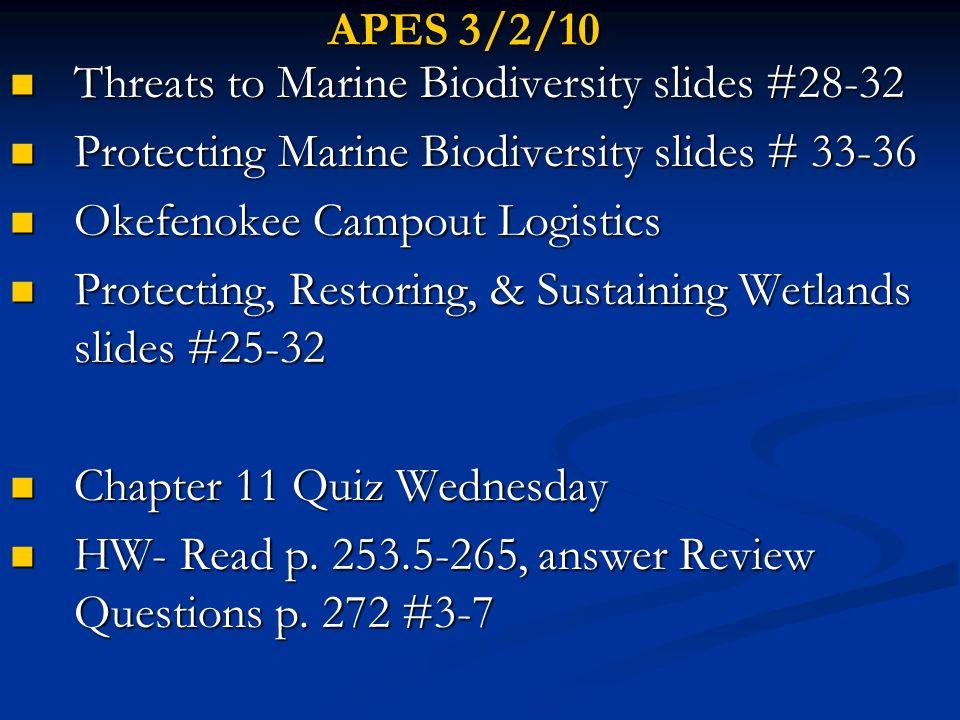 APES 3/2/10 Threats to Marine Biodiversity slides #28-32 Threats to Marine Biodiversity slides #28-32 Protecting Marine Biodiversity slides # 33-36 Pr