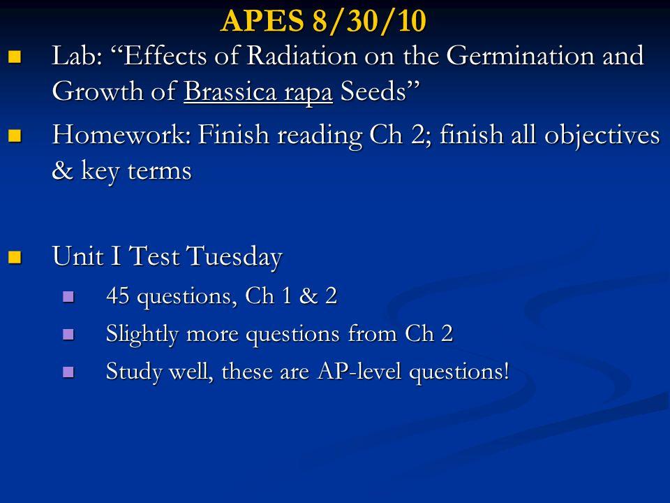 APES 10/4/10 Chapter 8 Presentations Chapter 8 Presentations