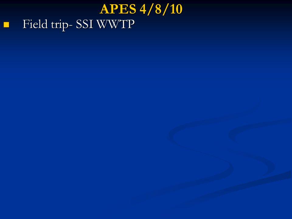 APES 4/8/10 Field trip- SSI WWTP Field trip- SSI WWTP