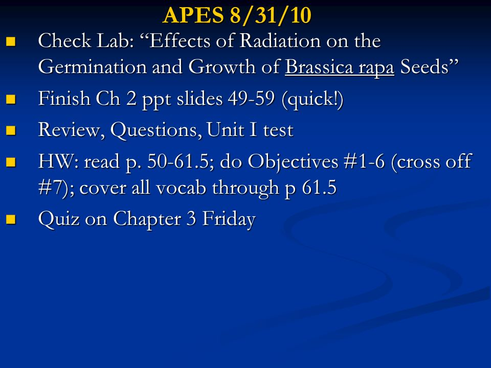 APES 2/16/10 Finish Ch 8 Projects Finish Ch 8 Projects Begin Ch 8 Presentations(?) Begin Ch 8 Presentations(?) HW- Look over other sections of Ch 8 in preparation for take-home quiz tomorrow night HW- Look over other sections of Ch 8 in preparation for take-home quiz tomorrow night