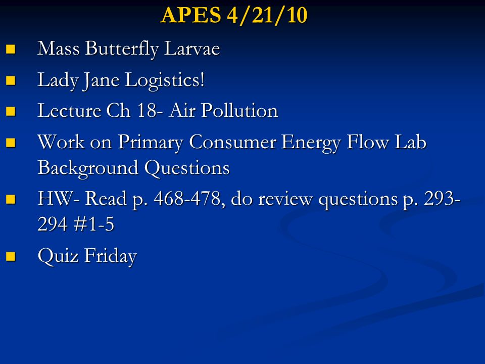 APES 4/21/10 Mass Butterfly Larvae Mass Butterfly Larvae Lady Jane Logistics! Lady Jane Logistics! Lecture Ch 18- Air Pollution Lecture Ch 18- Air Pol