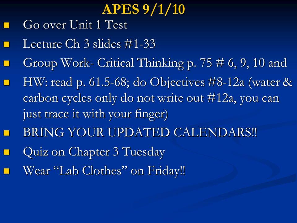 APES 2/17/10 Ch 8 Presentations Ch 8 Presentations HW- Take Home Quiz; Read Ch 9 p.
