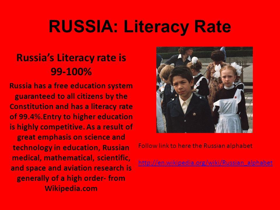Russia: Language Russian is a Slavic Language Between 145-160 million speak Russian ( based on 2008 estimation) A Russian Proverb Руководитель без нар