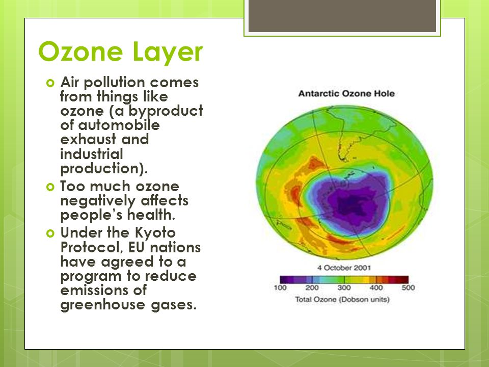 Ozone Layer Air pollution comes from things like ozone (a byproduct of automobile exhaust and industrial production). Too much ozone negatively affect