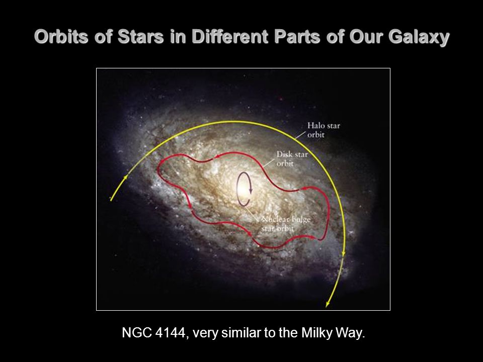 Orbits of Stars in Different Parts of Our Galaxy NGC 4144, very similar to the Milky Way.