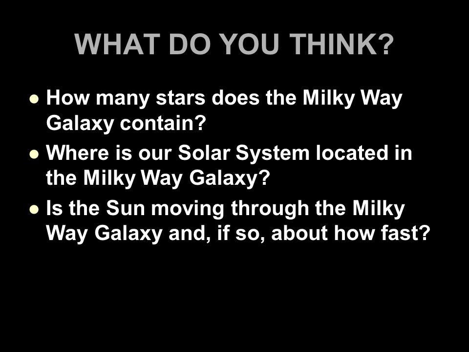 WHAT DO YOU THINK.How many stars does the Milky Way Galaxy contain.