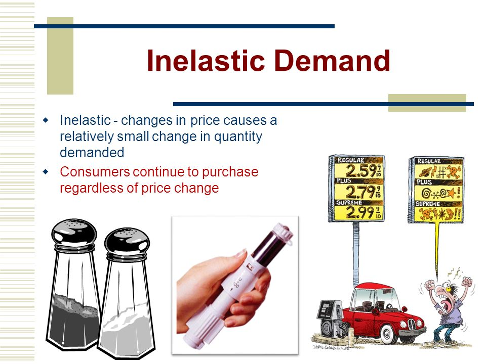 Elastic Demand Elastic – consumption changes drastically when a price rises or falls A consumer is very responsive to price changes