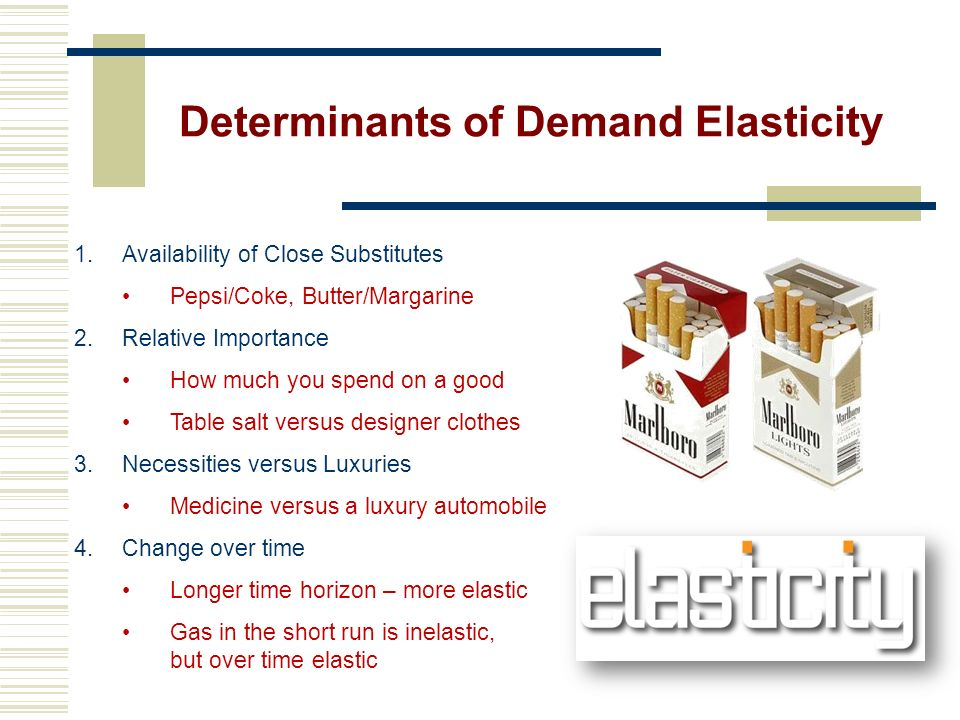 Inelastic Demand Inelastic - changes in price causes a relatively small change in quantity demanded Consumers continue to purchase regardless of price