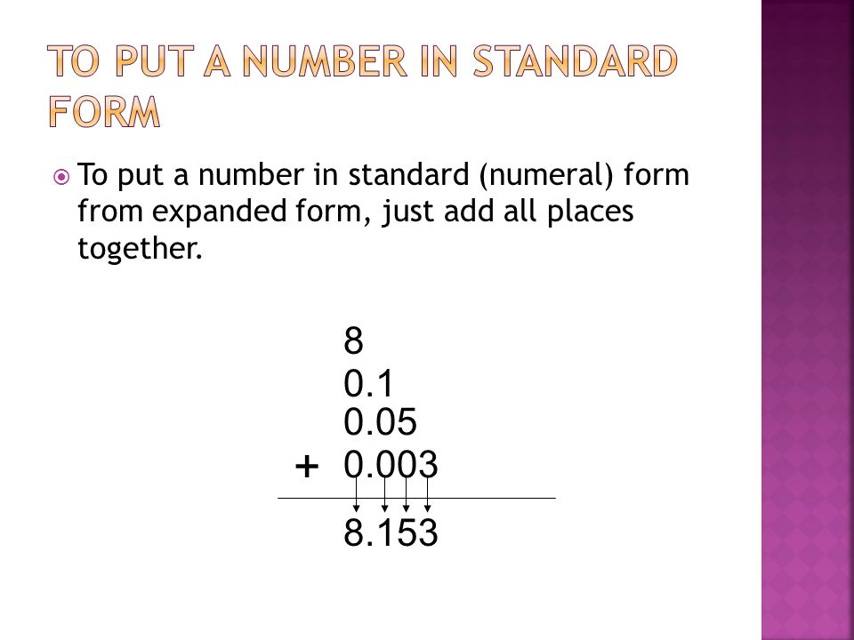 To put a number in standard (numeral) form from expanded form, just add all places together. 8 0.1 0.05 0.003 + 8.153