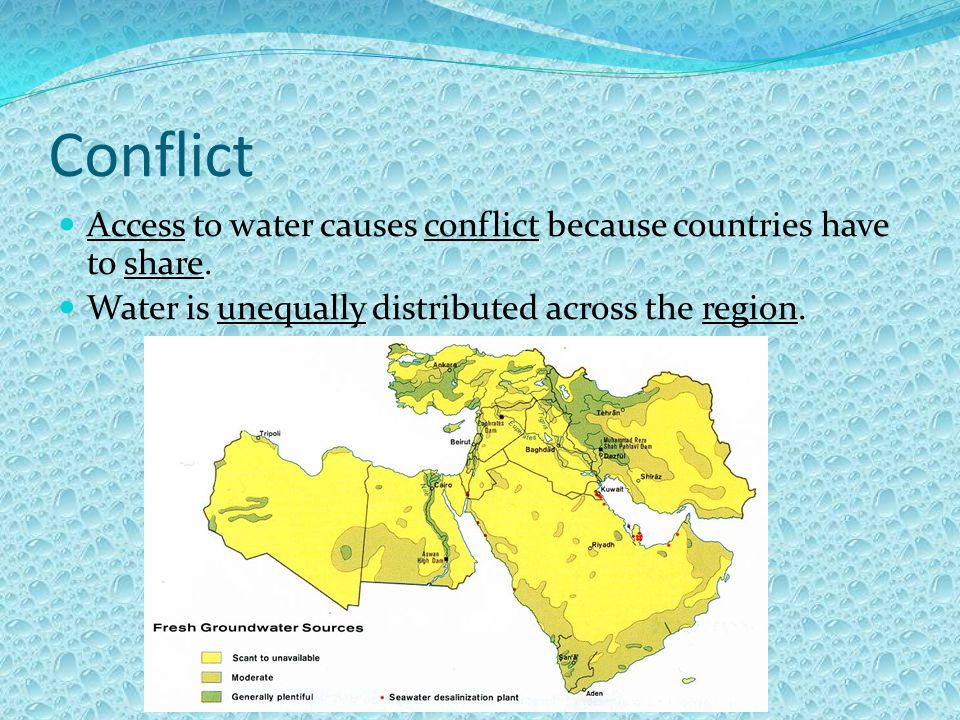 Conflict Access to water causes conflict because countries have to share. Water is unequally distributed across the region.