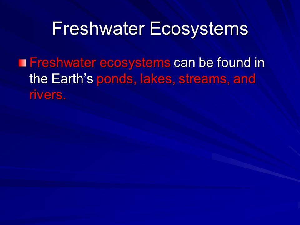 Freshwater ecosystems can be found in the Earths ponds, lakes, streams, and rivers.