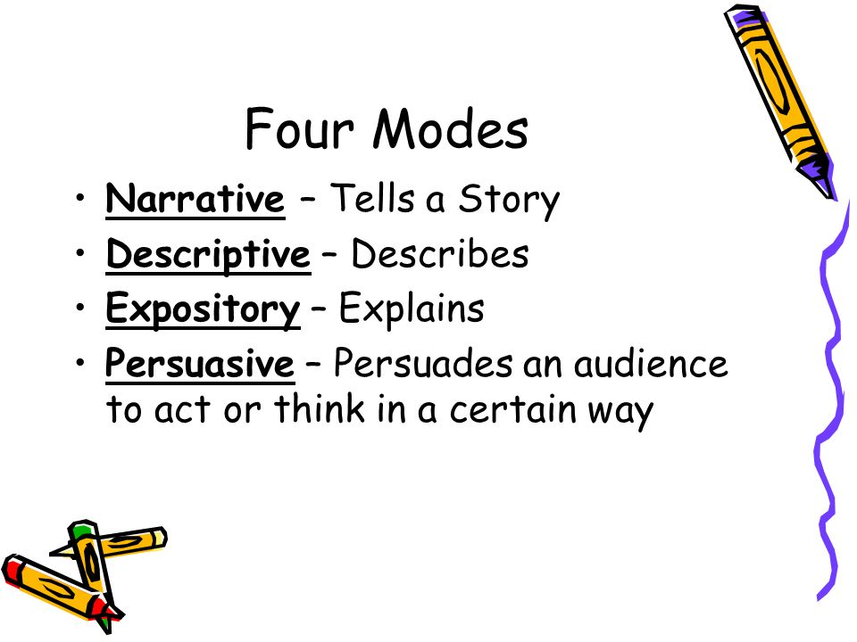 Four Modes Narrative – Tells a Story Descriptive – Describes Expository – Explains Persuasive – Persuades an audience to act or think in a certain way