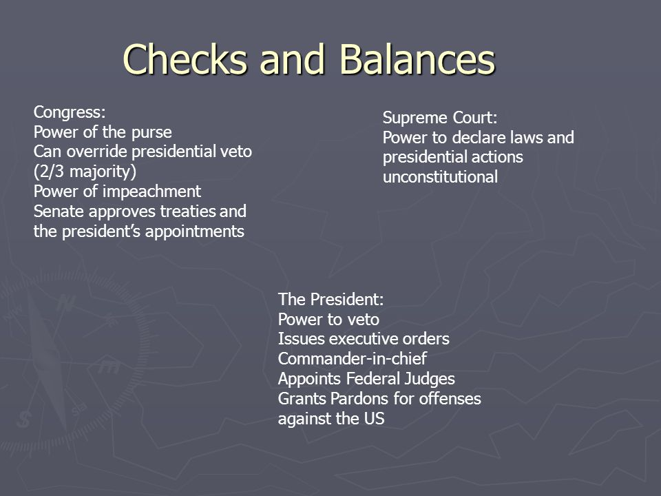 Checks and Balances Congress: Power of the purse Can override presidential veto (2/3 majority) Power of impeachment Senate approves treaties and the presidents appointments Supreme Court: Power to declare laws and presidential actions unconstitutional The President: Power to veto Issues executive orders Commander-in-chief Appoints Federal Judges Grants Pardons for offenses against the US