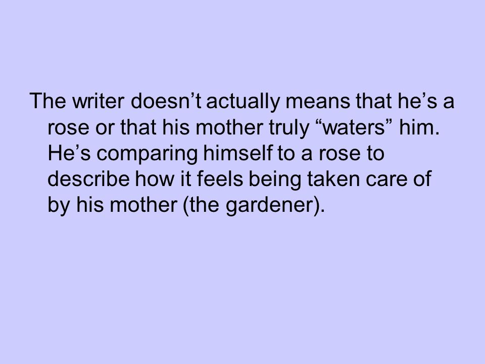 The writer doesnt actually means that hes a rose or that his mother truly waters him.