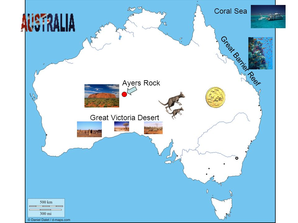 Great Victoria Desert Great Barrier Reef Coral Sea Ayers Rock