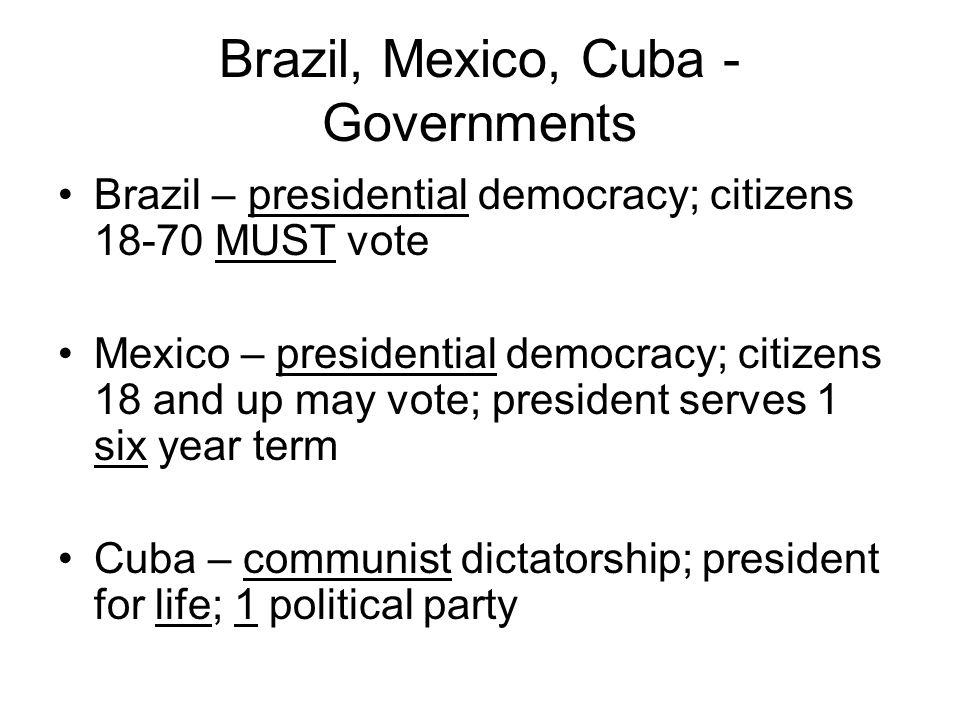 Brazil, Mexico, Cuba - Governments Brazil – presidential democracy; citizens 18-70 MUST vote Mexico – presidential democracy; citizens 18 and up may v
